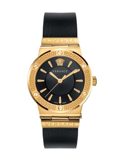 Versace Women's GRECA LOGO Black Dial Black leather Watch. VEVH00320
