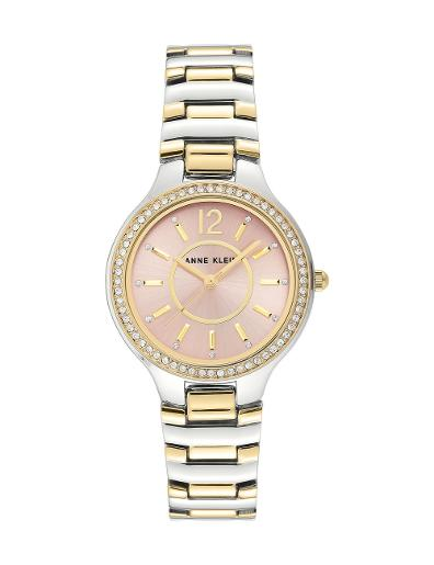 Anne Klein Women's Crystal Metal Pink Dial Two Tone Stainless Steel Watch. AK1855PKTT