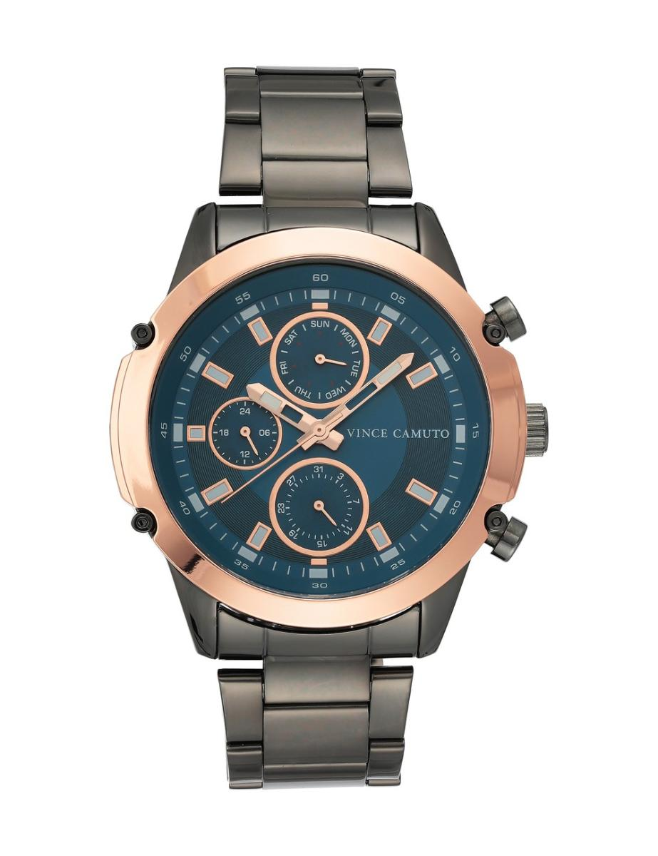Vince Camuto  Men's Chrono Blue Dial Black Stainless Steel Watch.  VC1135BLRT