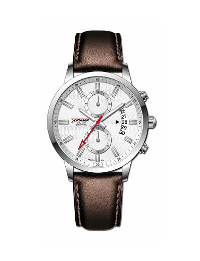 Cruiser Men's Leather Multifunction Silver Dial Watch. C7348-GZSS