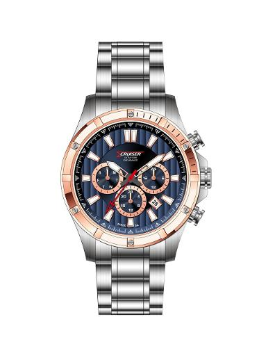 Cruiser Men's Metal Multifunction Blue Dial Watch. C7293-GTRUU