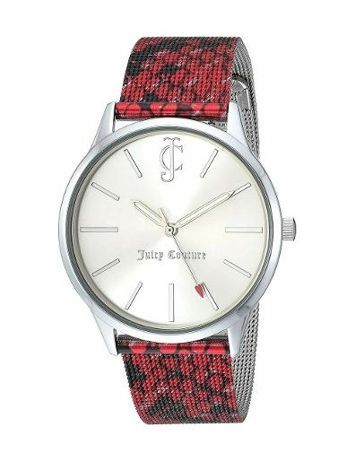 Juicy Couture Women's Leather Silver Dial Red Stainless Steel Watch. JC1015SVBY
