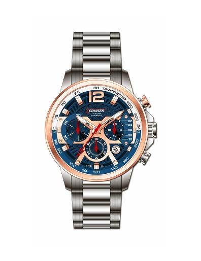 Cruiser Men's Metal Chronograph Blue Dial Watch. C7346-GTRUC