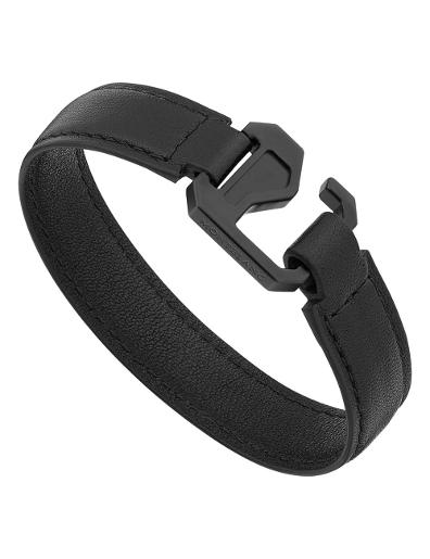 Montblanc Bracelet in black leather with steel closing and black PVD 12382963