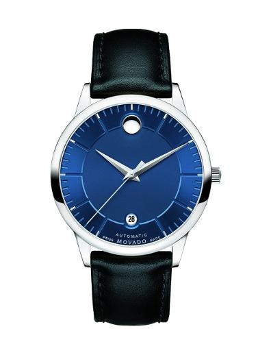 Movado Men's 1881 Automatic Blue Dial Black Strap Watch. 606874