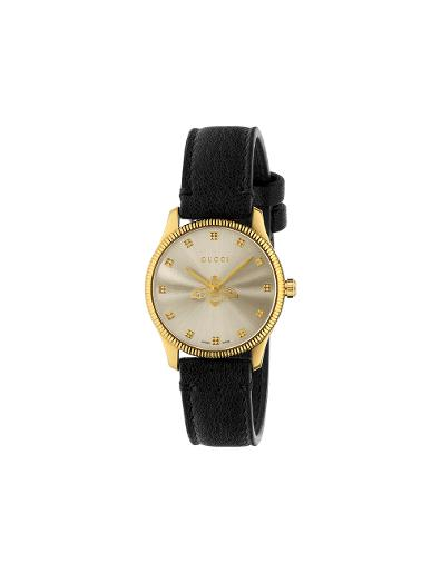 Gucci  Women's G-TIMELESS Silver Dial Black Leather Watch.  YA1265023
