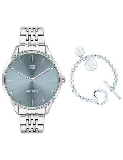 Tommy Hilfiger Women's Gift Set Blue Dial Silver Stainless Steel Watch. Tommy Set 4