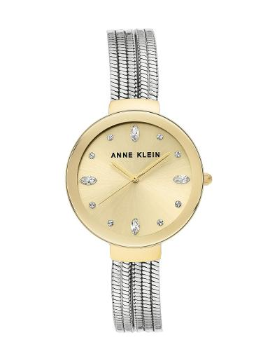 Anne Klein Women's Crystal Metal Gold Dial Silver Stainless Steel Watch. AK3557CHTT