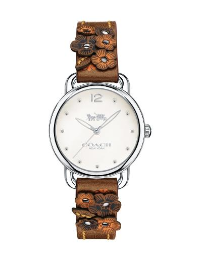 Coach Women's Delancey Off white Dial Brown Leather Watch. 14502761