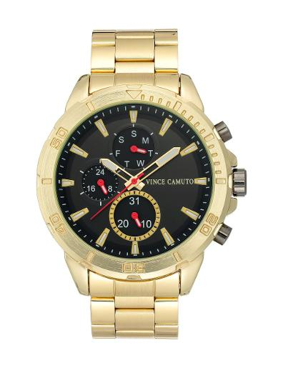 Vince Camuto Men's Chrono Black Dial Gold Stainless Steel Watch. VC1140BKGP