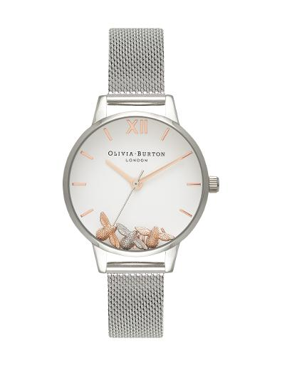 Olivia Burton Women's Busy Bees Silver Mesh OB16CH02