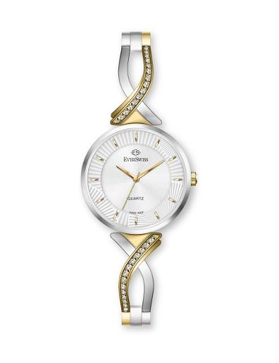 Everswiss Women's Ladies Fancy  Silver Dial Stainless Steel with Yellow Gold colour plated Brass Watch. 2811-LTS