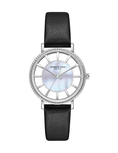 Kenneth Cole Women's Transparency MOP Dial with Black Leather Watch KC51128001