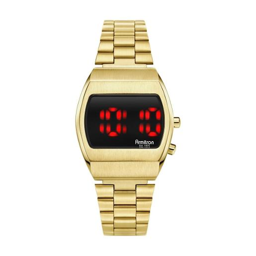 ARMITRON Men's The Griffy Digital Dial Gold Stainless Steel Watch. 408475BRGP