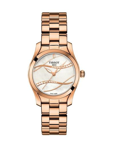Tissot Women's trend WHITE MOTHER OF PEARL Dial Rose Gold Stainless steel Watch. T112.210.33.111.00