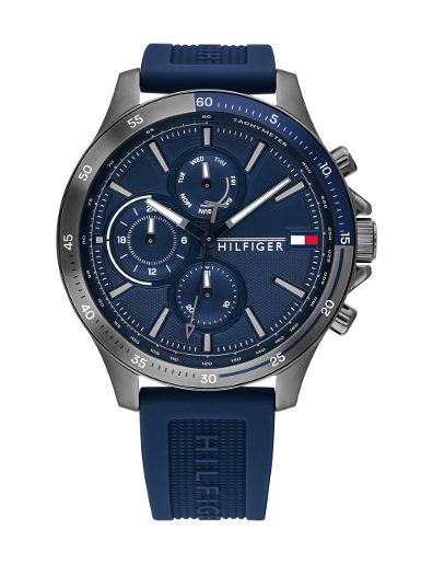 Tommy Hilfiger Men's Bank Blue Dial Blue Silicon Watch. 1791721
