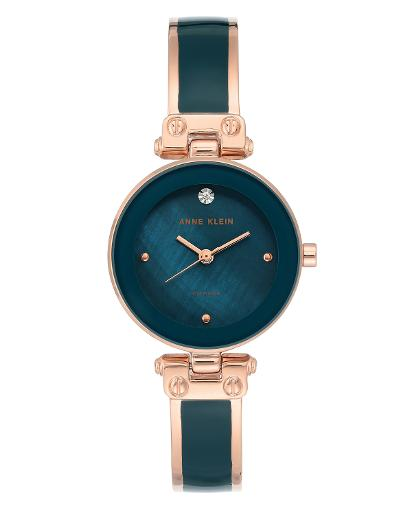Anne Klein Women's Trend Teal mother of pearl Dial Nickel compliant rose gold with teal enamel Metal Watch. AK1980TERG