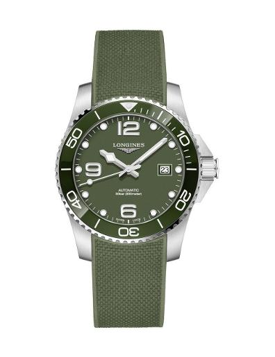 Longines Men's HydroConquest Green Dial Green Rubber Watch. L37814069