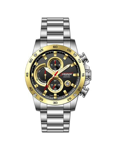 Cruiser Men's Metal Chronograph Black Dial Watch. C7299-GTBC