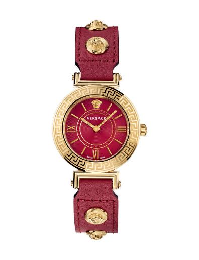 Versace Women's TRIBUTE Red Dial Red leather Watch. VEVG00620