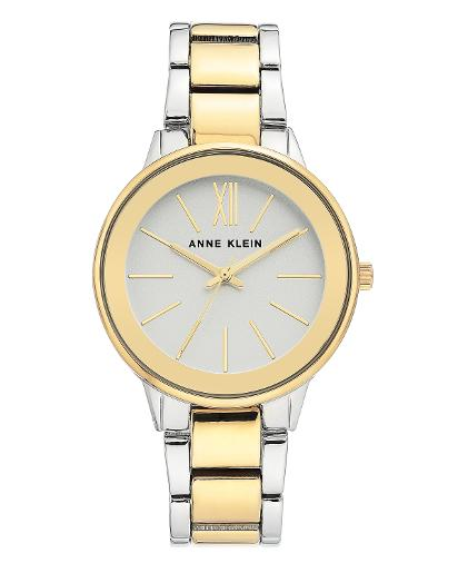 Anne Klein Women's Metal Silver Dial Nickel compliant two-tone Metal Watch. AK3751SVTT