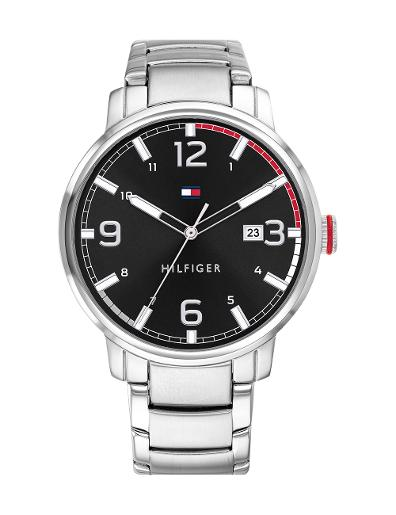 Tommy hilfiger Men's THESS Black Dial Silver Stainless steel Watch. 1791755