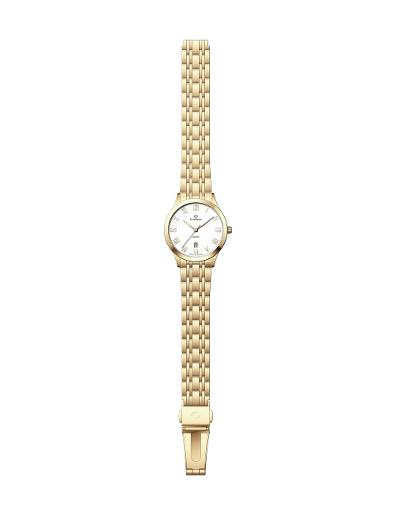 Everswiss Women's Metal Solid Band Pair Silver Dial Yellow Gold Plated Stainless Steel Watch. 1701-LGS