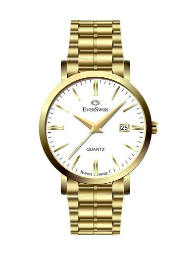 Everswiss Men's Metal Solid Band Pair Silver Dial Yellow Gold Plated Stainless Steel Watch. 4139-GGS