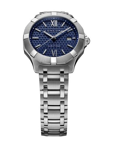 Concord Women's Saratoga Blue Dial Silver Metal Watch. 320413