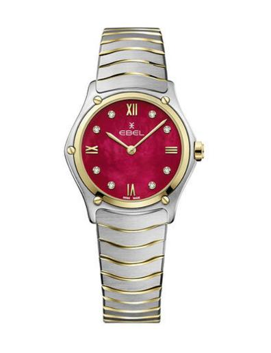 Ebel Women's Sport Classic Red Mother of Pearl Dial Two Tone Stainless Steel Watch. 1216490A