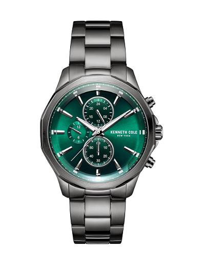 Kenneth Cole Men's Multifunction Green Dial with Grey Steel Watch KC51109001