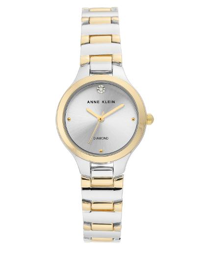 Anne Klein Women's Metal Silver Sunray Dial gold two-tone Metal Watch. AK3609SVTT