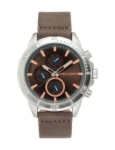 Vince Camuto Men's Chrono Grey Dial Brown Leather Watch. VC1141GYST