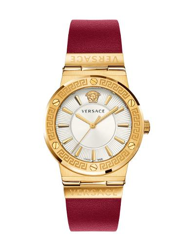 VERSACE Women's Greca Logo White Dial Red Leather Watch VEVH00420