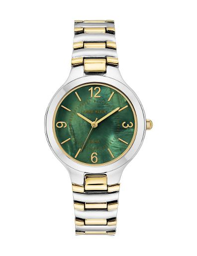 Anne Klein Women's Considered Green Dial Two Tone Stainless Steel Watch. AK3711GNTT