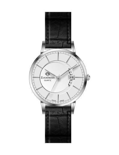 Everswiss Men's Leather Pair Silver Dial Black Leather Watch. 9749-GZS