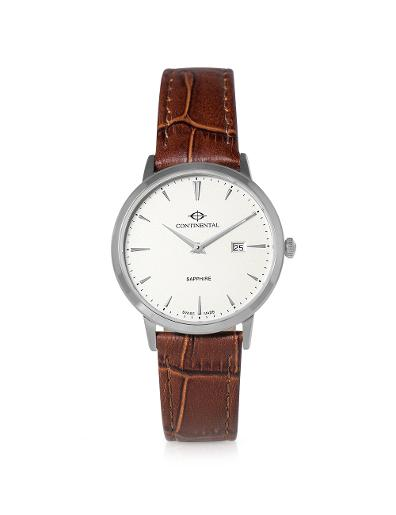 Continental Women's Classic Silver Dial Brown Leather Watch. 19603-LD156130
