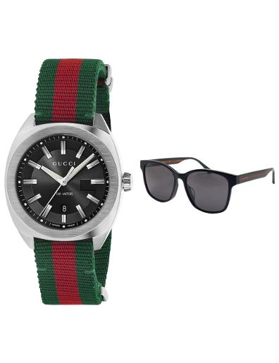 Gucci Gucci Gift Set - Red and Green Nylon Men's watch and Eyewear GUCCI SET 2