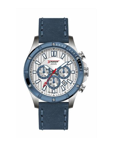Cruiser Men's Leather Multifunction Silver Dial Watch. C7293-GZS