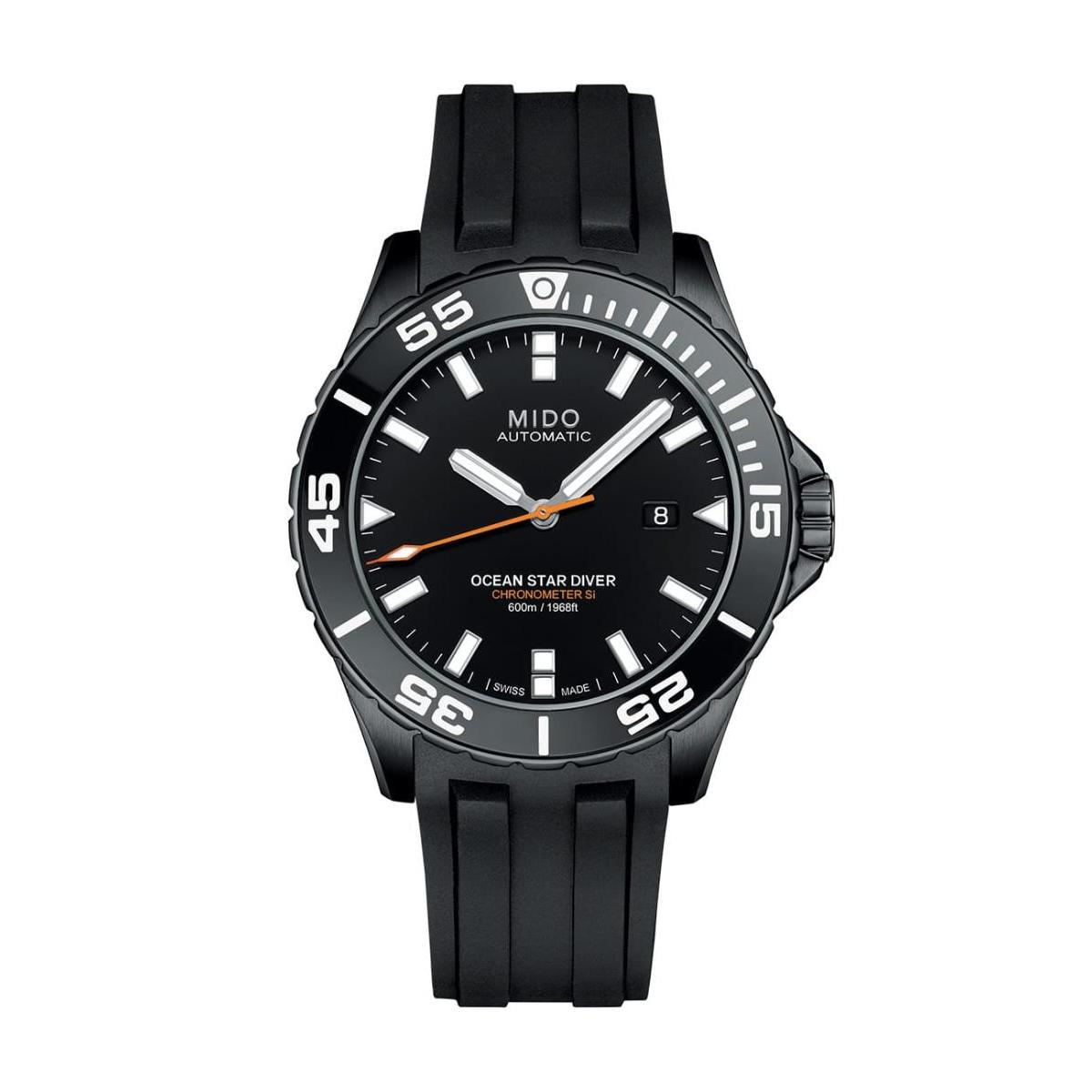 Mido  Mido Automatic  Ocean Star Captain V Men Black Rubber Stainless steel Round Black Dial Watch  M026.608.37.051.00