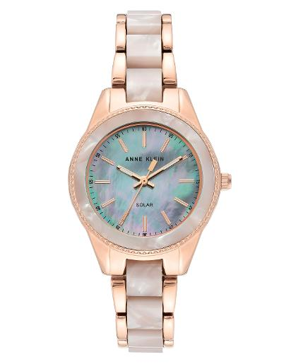 Anne Klein Women's CONSIDERED White mother of pearl Dial Nickel compliant rose gold with white marble petroleum free plastic Plastic Watch. AK3770WTRG