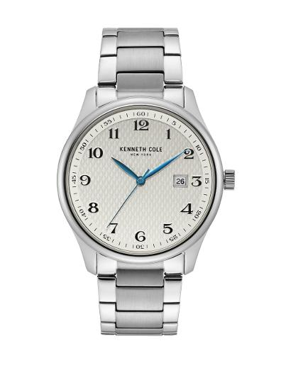 KENNETH COLE Men's Classic White Dial Silver Stainless Steel Watch. KC50841001