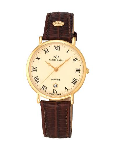 Continental Men's Classic Cream Dial Yellow Gold Leather Watch 63730-GD256210