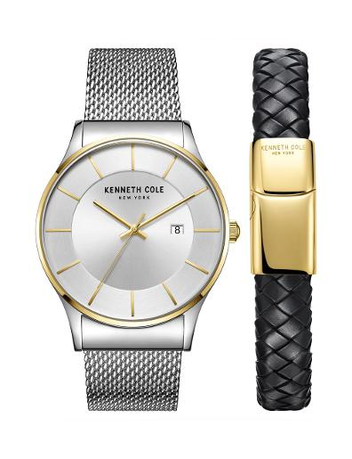 Kenneth cole Men's Gift Set Silver Dial Silver Stainless Steel Watch. KC50985002