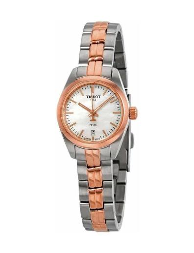 Tissot Women's Classic WHITE MOTHER OF PEARL Dial Grey Rose Gold Stainless steel Watch. T101.010.22.111.01