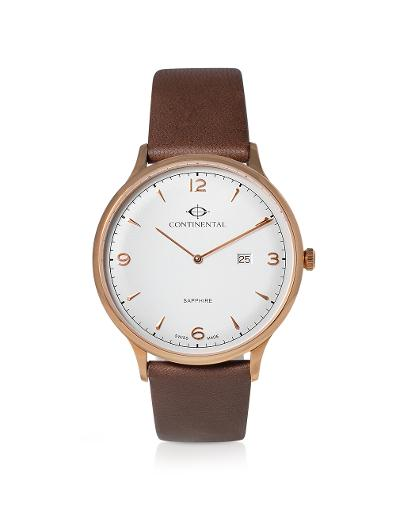 Continental Men's Classic Silver Dial Brown Leather Watch. 19604-GD556120