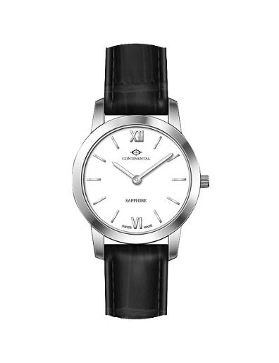 Continental Women's Classic White Dial Black Leather Watch. 14101-LT154730