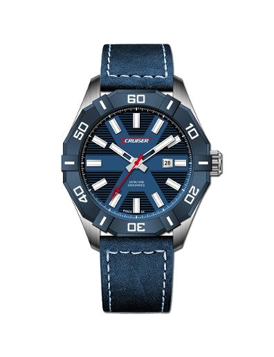 Cruiser Men's Leather Date Blue Dial Watch. C7291-GZU