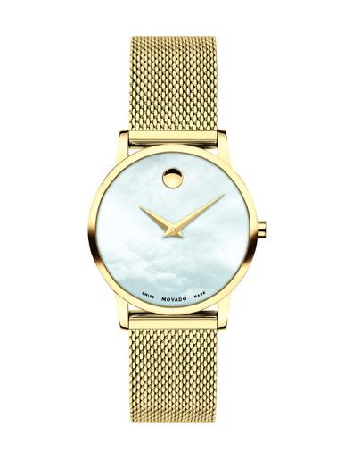 Movado Women's Museum White Mother of Pearl Dial gold Mesh Bracelet Watch. 607351
