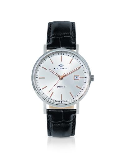 Continental Men's Classic Silver Dial Black Leather Watch. 19101-GD154130